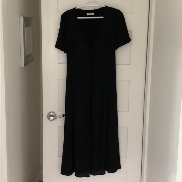 BABATON Black A—Line Buttoned Dress with Tie Waist